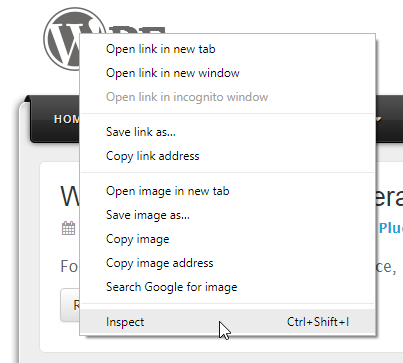 Chrome Inspect menu item