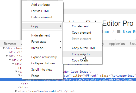 Chrome copy CSS selector