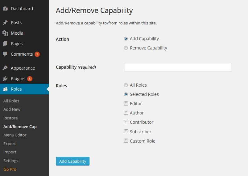 Add or Remove Capability