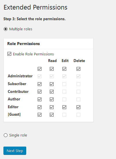 bulk edit extended permissions step 3