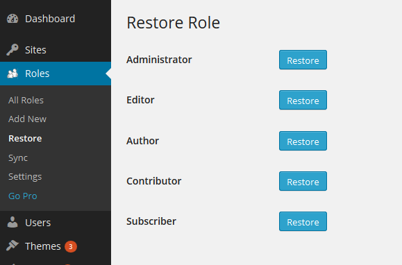 Multisite Restore Role