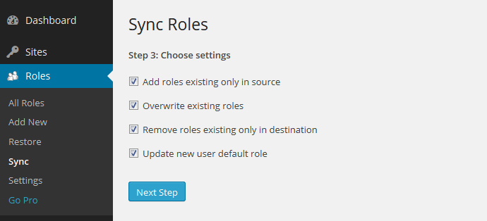Multisite Sync Step 3