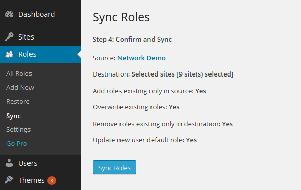 Multisite Sync Step 4 Confirm